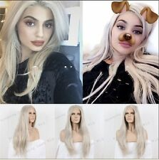 NEW Natural Kardahsian Kylie Jenner Platinum Blonde long lace front women wig