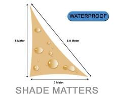 New Waterproof Shade Sail- Right Angle Triangle 3m x 5m x 5.8m Sand Color