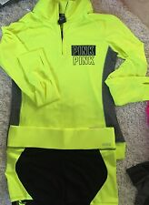 Victoria's Secret Pink Ultimate Hoodie Yoga Jacket Neon Shorts shortie green set