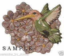HUMMINGBIRD TEABAG HOLDER CERAMIC READY to PAINT JEWELRY tray dish spoon Rest