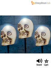 Light Up + Sound Skull Ground Stakes Outdoor Halloween Party Decoration Grave