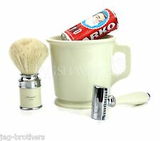 4 PIECE SHAVING SET OF IVORY COLOUR MUG,RAZOR,SHAVING BRUSH & ARKO SHAVING SOAP