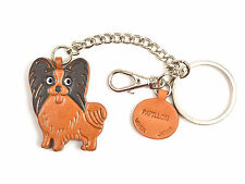 Papillon Handmade 3D Leather Dog Keychain Bag/Ring Charm VANCAMade in Japan26067