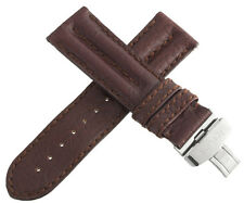 IceLink Mens 26mm Brown Leather Watch Band Strap W/ Stainless Steel Buckle