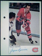 JACQUES LAPERRIERE  MONTREAL CANADIENS  71/72 TORONTO SUN 5-1/4 X 7 PHOTO CARD