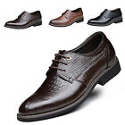 Mens Casual Leather Crocodiled Cow Pointed Lace Up Business Wedding Shoe Loafer