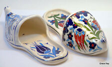 Key Holders Handpainted Ceramic Shoes Wall Plaque Blue Red For Her & Him
