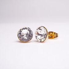 Ohrringe 8mm mit Swarovski® Kristallen Gelbgoldbeschichtet Ohrstecker