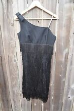 VTG Flapper Girl Dress Black Rhinestone strap Adorable Size Small Great Gatsby