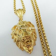"""Fashion New Men's Gold 316L Stainless Steel Cool Lion Pendant Necklace 1.6""""*1.2"""""""