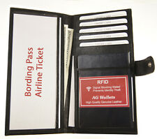 RFID Blocking Leather Travel Passport Airline Ticket Case Card Holder with Snap
