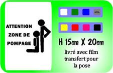 "sticker porte chambre - humoristique - blague "" zone de pompage """