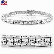 ItalianTop CZ 925 Sterling Silver Tennis Bracelet Princess Cut White Bridal 7.5""