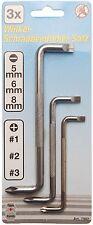 Winkel-Schraubendrehersatz 3 tlg. Schlitz 5-6-8 mm Kreuz Nr. 1-2-3 7982