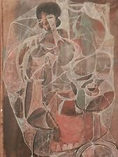 OLD ANTIQUE CUBIST Abstract Fine Art PAINTING New Orleans Artist Artwork signed