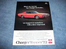 1972 Dodge Charger Topper Vintage Color Ad