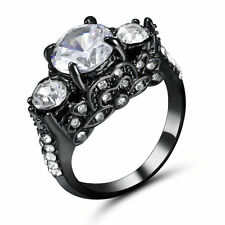 Fashion White Sapphire 10KT Black Gold Filled Ring Women's Wedding Jewelry Size6