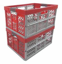 2 x Pro - Foldable box TUV certified 45 L up to 50 kg silver / red Folding Crate