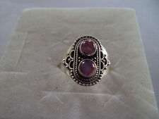 Pink Moonstone 5mm sterling silver ring size 8 DS-DEE