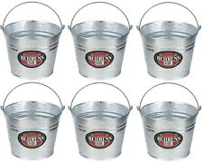(6) Behrens 1205 5 Quart Galvanized Steel Metal Water Pail Buckets w Handle