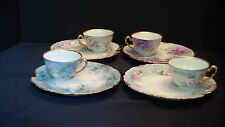 A Beautiful Set Of Four French T&V Limoges Cups and Plates
