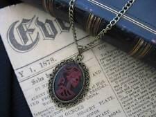 Rojo oscuro gótico Steampunk Calavera Esqueleto Lady camafeo colgante Bronce Collar