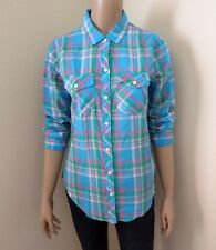 NEW Abercrombie Womens Plaid Button Down Shirt Size XS Colorful Blouse Blue Pink