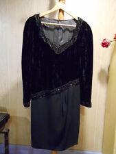 BLACK cocktail beaded dress, BLACK VELVET UPPER, REGULAR SIZE 8