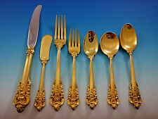 Golden Grande Baroque by Wallace Sterling Silver Flatware Set Dinner 57 pcs Gold