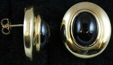 Natural Black Nephrite Jade Ovals & 14K Yellow Gold Wide Frame Earrings
