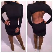 Black Backless Long sleeve Mini Dress with rounded hem Cut out Back size M