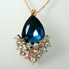 Navachi 18K Yellow GP Crystal Pear-shaped Blue Zircon Necklace Pendant BH6011