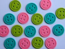 12 edible BUTTONS cake CUPCAKE topper DECORATION giggle HOOT cute as a SEW baby