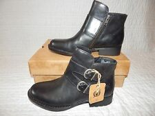 NEW Born Women's Adler Black Leather Ankle Boots-Side Zip/2 Buckles-Sz 7.5-NIB