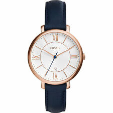 Fossil Women's ES3843 Jacqueline Analog Silver Dial Navy Leather Watch