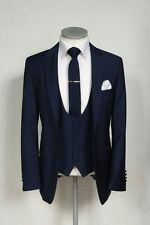 Navy Blue Men's Suit Groom Tuxedo Best Man Groomsman Wedding Suits Custom Made