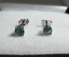 Fabulous .55ct Natural Color Change Alexandrite 14kt White Gold Stud Earrings