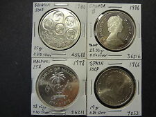 SPAIN 1966 100 P, MALDIVES 1978 25 R, BELGIUM 1980 500 F, CANADA 1986 1 DOLLAR