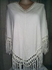 Autograph Cream Poncho cardigan jacket jumper Cotton + poly fringe S - M 18 NEW