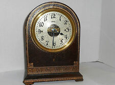 ANTIQUE BULLE FRANCE RARE ELECTROMAGNETIC MANTLE /SHELF CLOCK LEATHER-CLAD AS-IS