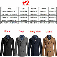 Men's Stylish Double Breasted Wool Overcoat Trench Coat Winter Warm Slim Jacket