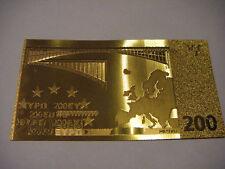 BANCONOTA 200 EURO REPLICA ORO 24K