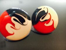 "Wild 50s & 60s Red & Black Racing Flames on White Round 3/4"" Stud Post Earrings"