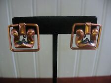 Vintage Screw On Solid Copper Square Filagree Drop Dangle Earrings