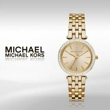 NEW MICHAEL KORS MK3365 MINI DARCI GOLD GLITZ BEZEL SUNRAY DIAL WOMEN'S WATCH