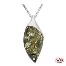 "GREEN NATURAL BALTIC AMBER STERLING SILVER 925 PENDANT +18""chain, KAB-85"
