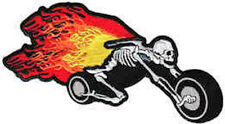 Iron On/ Sew On Embroidered Patch Badge Skeleton Wheels Chopper Biker Flames
