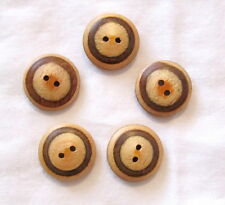 Set of 5-Stunning Natural/Brown WOOD Wooden 2-Hole 23mm Smooth BUTTONS
