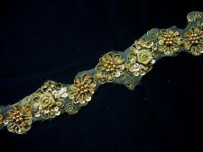 """BN122 1 6/8"""" 3D Flowers Sequined Beaded Trim Banding Gold 1Yard"""