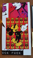 DEATH NYC KATE MOSS MICKEY MOUSE WARHOL CAMPBELLS SOUP PRINTCARDBOARD SIGNED+COA